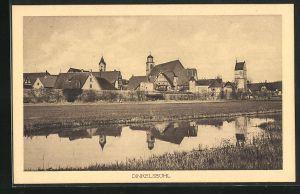 AK Dinkelsbühl, Ortsansicht vom Flussufer gesehen