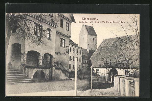 AK Dinkelsbühl, Spitalhof mit Blick auf`s Rothenburger Tor