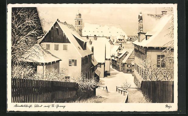 AK Dinkelsbühl, Deutschhofberg - Strasse mit Blick auf St. Georg, verschneiter Wintertag