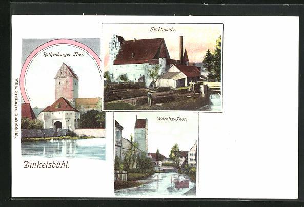 AK Dinkelsbühl, Rothenburger Thor, Stadtmühle, Wörnitz-Thor