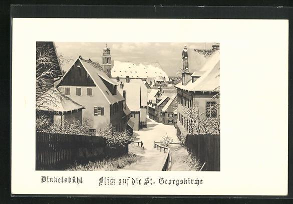 AK Dinkelsbühl, Strassenblick vom Deutschhofberg auf die St. Georgskirche
