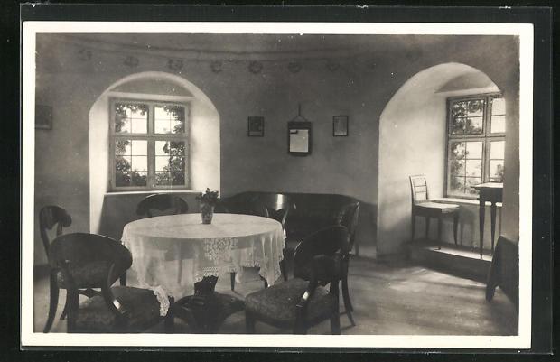 AK Dinkelsbühl, Das blaue Zimmer, Innenansicht