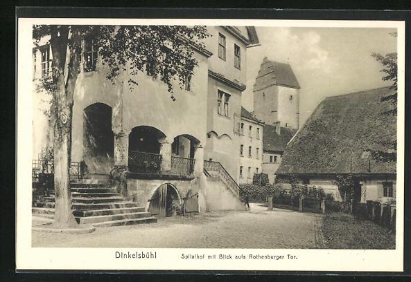 AK Dinkelsbühl, Spitalhof mit Blick aufs Rothenburger Tor