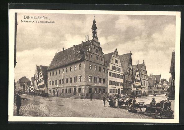 AK Dinkelsbühl, Marktplatz u. Weinmarkt