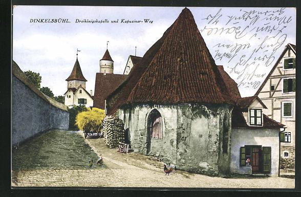 AK Dinkelsbühl, Dreikönigskapelle und Kapuziner- Weg