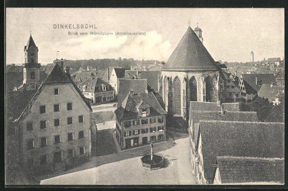 AK Dinkelsbühl, Blick vom Wörnitzturm, Altrathausplatz