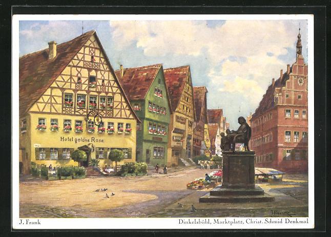 Künstler-AK Dinkelsbühl, Marktplatz, Christ. Schmid Denkmal