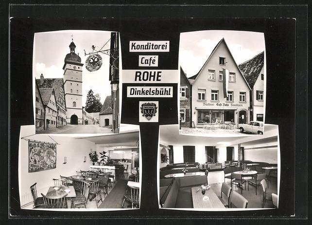 AK Dinkelsbühl, Konditorei Cafe Rohe, Segringer Strasse 48, Innenansichten Gasträume, Strassenpartie mit Turm