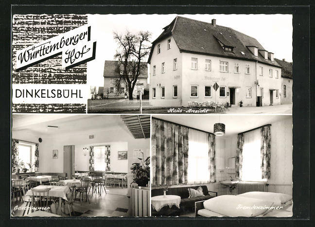 AK Dinkelsbühl, Würtemberger Hof, Innenansichten Gastraum u. Schlafzimmer