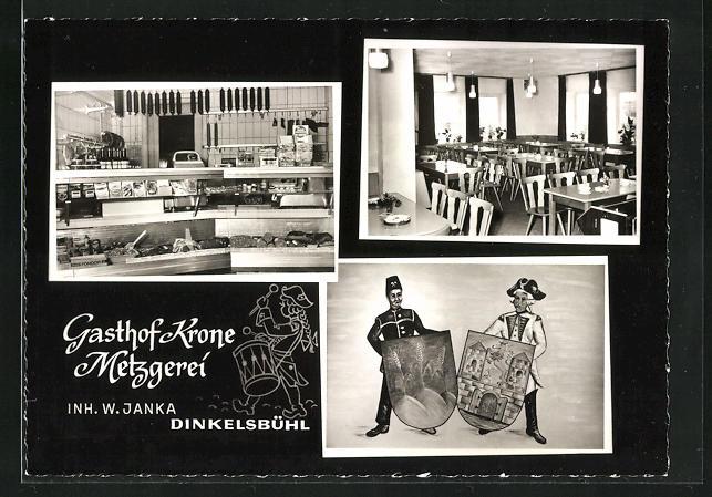 AK Dinkelsbühl, Gasthof Krone-Metzgerei, Nördlinger Strasse 24, Innenansichten Gastraum u. Verkaufstheke