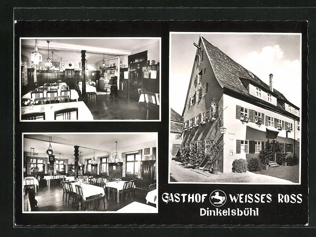 AK Dinkelsbühl, Gasthof Weisses Ross, Innenansichten Gasträume