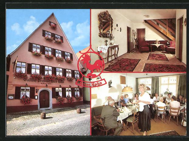 AK Dinkelsbühl, Gasthof Roter Hahn, Innenansichten Gastraum u. Wohnraum