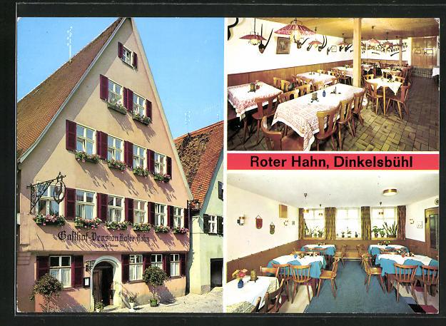 AK Dinkelsbühl, Gasthof Roter Hahn, Innenansichten Gasträume