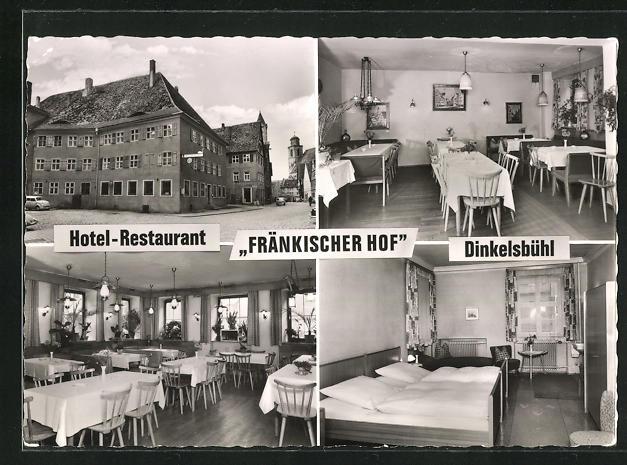 AK Dinkelsbühl, Hotel-Restaurant Fränkischer Hof, Innenansichten Gasträume u. Schlafzimmer