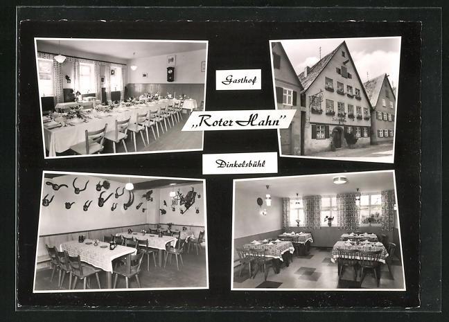 AK Dinkelsbühl, Gasthof Roter Hahn, Innenansichten Speisesaal u. Gasträume