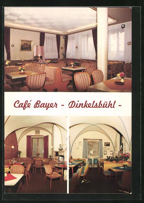 AK Dinkelsbühl, Cafe Bayer, Innenansichten Gasträume