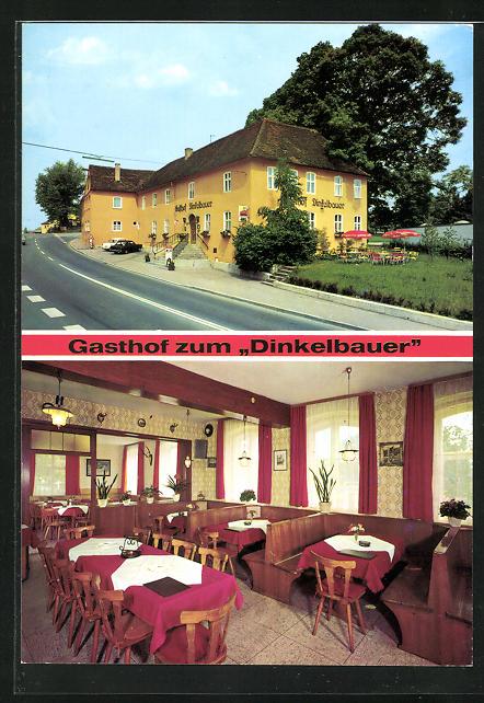 AK Dinkelsbühl, Gasthof Dinkelbauer, Innenansicht Gastraum