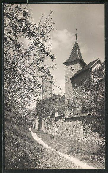 Foto-AK Dinkelsbühl, Äussere Stadtmauer