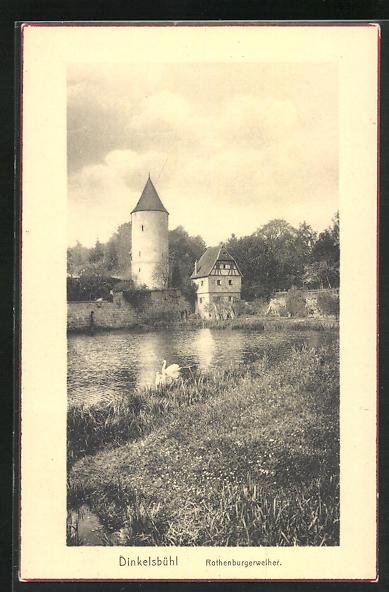 AK Dinkelsbühl, Blick auf den Rothenburgweiher