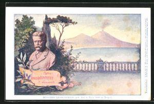 Künstler-AK Philipp + Kramer Nr. XXVII /7: Büste des Komponisten Ruggiero Leoncavallo, im Hintergrund der Vesuv