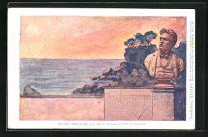 Künstler-AK Philipp + Kramer Nr. XXVII /8: Büste des Komponisten Pietro Mascagni, Steilküste bei Livorno