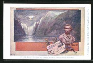 Künstler-AK Philipp + Kramer Nr. XXVII /10: Büste des Komponisten Edvard Hagerup Grieg, geboren in Bergen