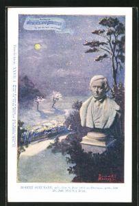 Künstler-AK Philipp + Kramer Nr. XXVII /4: Büste des Komponisten Robert Schumann, Nächtliche Landschaft