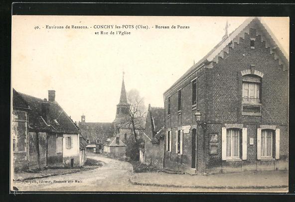 AK Conchy-les-Pots, Bureau de Postes et Rue de l'Eglise