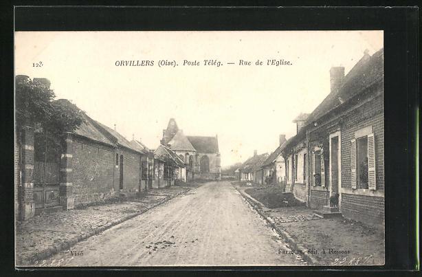 AK Orvillers, Poste Teleg., Rue de l'Eglise