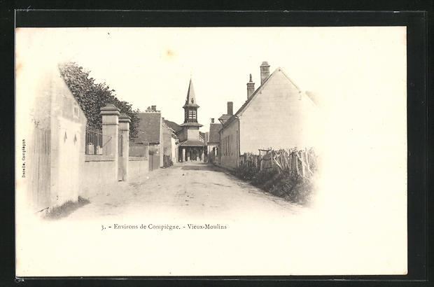 AK Vieux-Moulins, Ortspartie mit Kirche, l'Eglise