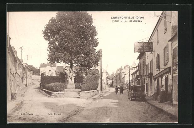 AK Ermenonville, Place J.-J. Rousseau
