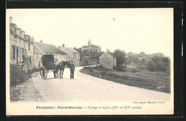 AK Pontpoint-Saint-Gervais, Paysage et Eglise