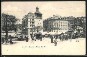 AK Geneve, Place Bel-Air, Strassenbahn