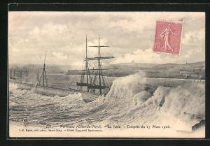 AK Portrieux, La Jetee Tempete du 27 Mars 1906, Hohe Wellen schlagen auf Quai