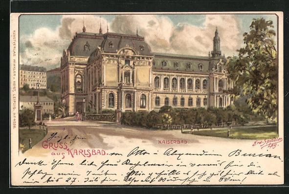 Künstler-AK Erwin Spindler: Karlsbad, Kaiserbad mit Auffahrt