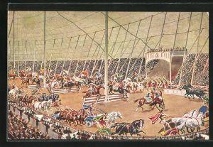 AK Zirkus Krone, Grosse Manege mit vielen Pferden und Pferdewagen vor grossem Publikum