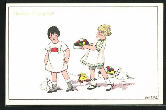 Künstler-AK Anny Tekauz: zwei Mädchen mit Ostereiern, Hasen und Ziehente, Ostergrusskarte