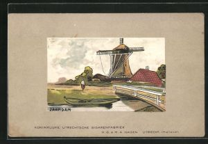 Künstler-AK Zaandam, Motiv einer Windmühle, Koninklijke Utrechtsche Sigarenfabriek