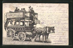 AK London Omnibus, Pferdekutsche