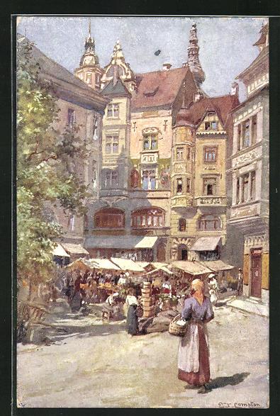 Künstler-AK Edward Theodore Compton: Klagenfurt, Obstplatz