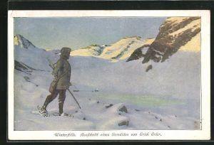 Künstler-AK Eriche Erler: Winterstille, Wanderer mit Schneeschuhen