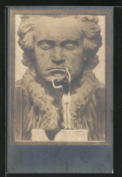 Künstler-AK Fidus: Beethoven, Portrait und weiblicher Akt