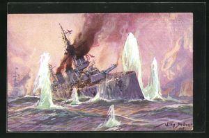 Künstler-AK Willy Stoewer: Englischer Schlachtkreuzer im Salvenfeuer deutscher Kreuzer, 24. Jan. 1915