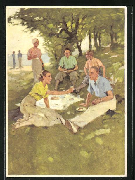 Künstler-AK Brynolf Wennerberg: Indanthren, junge Menschen bei Picknick