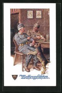 Künstler-AK Deutscher Schulverein Nr. 784: Waffengefährten, Deutscher und österreichischer Soldat mit Sanitätshund