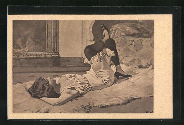 Künstler-AK Brynolf Wennerberg: Frau in Unterwäsche liegt rücklings auf Bett