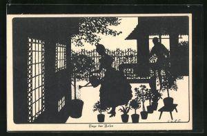 Künstler-AK Ov. Alt-Stutterheim: Scherenschnitt Tage der Rosen
