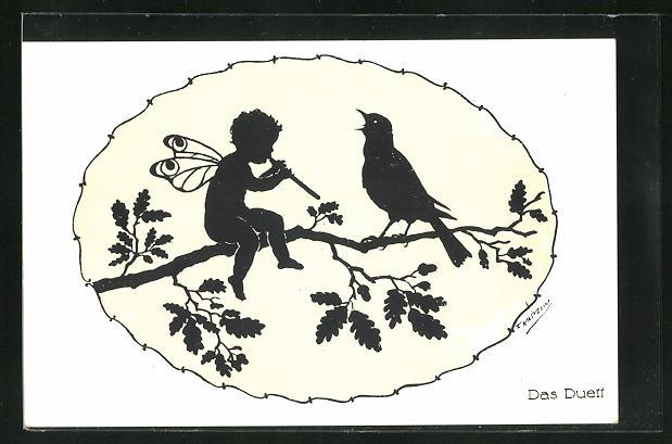 Künstler-AK Friedrich Kaskeline: Scherenschnitt Das Duett, Elf mit Flöte u. Vogel auf einem Zweig