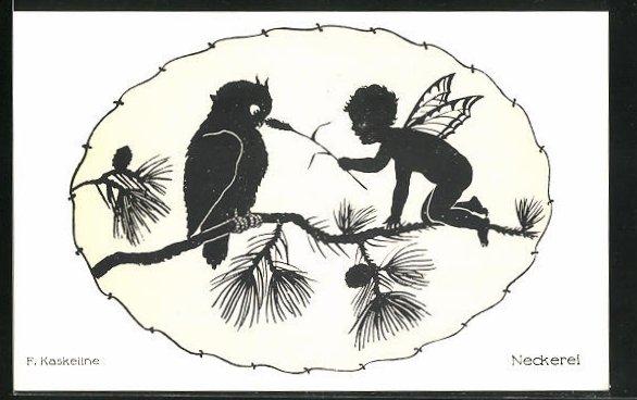 Künstler-AK Friedrich Kaskeline: Scherenschnitt Neckerei, Elf mit Halm u. Vogel auf einem Zweig