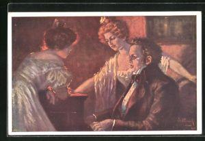 Künstler-AK Schubert im Anzug auf Stuhl sitzend mit zwei Damen